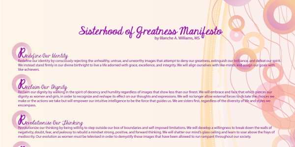 Sisterhood of Greatness Manifesto by Blanche Williams REV2016