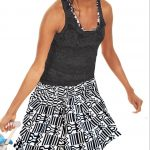 African Print Skirt-Mini Skirt, Black and White Geometric Kente