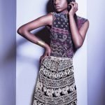 African Print Skirt-Maxi, Black and White, Animals