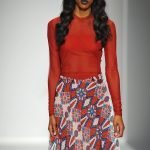 African Print Skirt-Maxi, Red, White, Blue