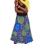 African Print Skirt-Maxi, Blue, Yellow, Red