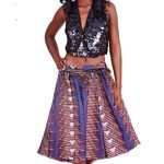 African Print Skirt-Red, Blue, Purple Textile